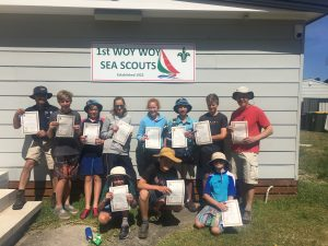 Receiving their Level 2 Canoe certificates and Anchor badge